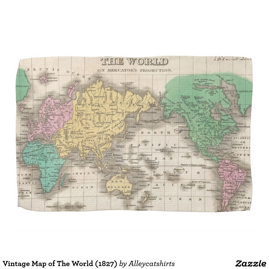 Vintage Map Of The World 1827 Towel Zazzle Com Vintage Map Hand Towels Placemats