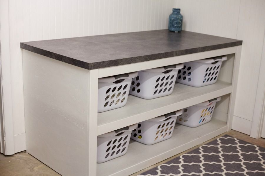 Laundry Table Ideas laundry folding table and shelving Laundry Roomoffice Space Reveal