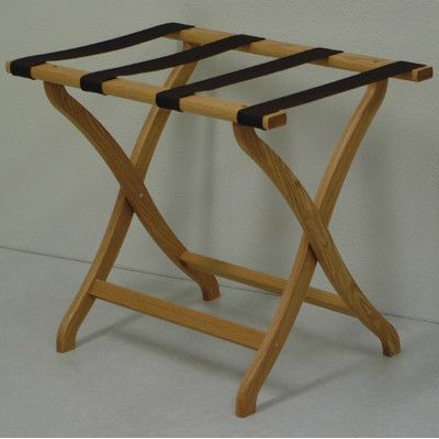 Wooden Mallet Deluxe Contour Leg Luggage Rack Wood Finish: Light Oak, Fabric: Brown
