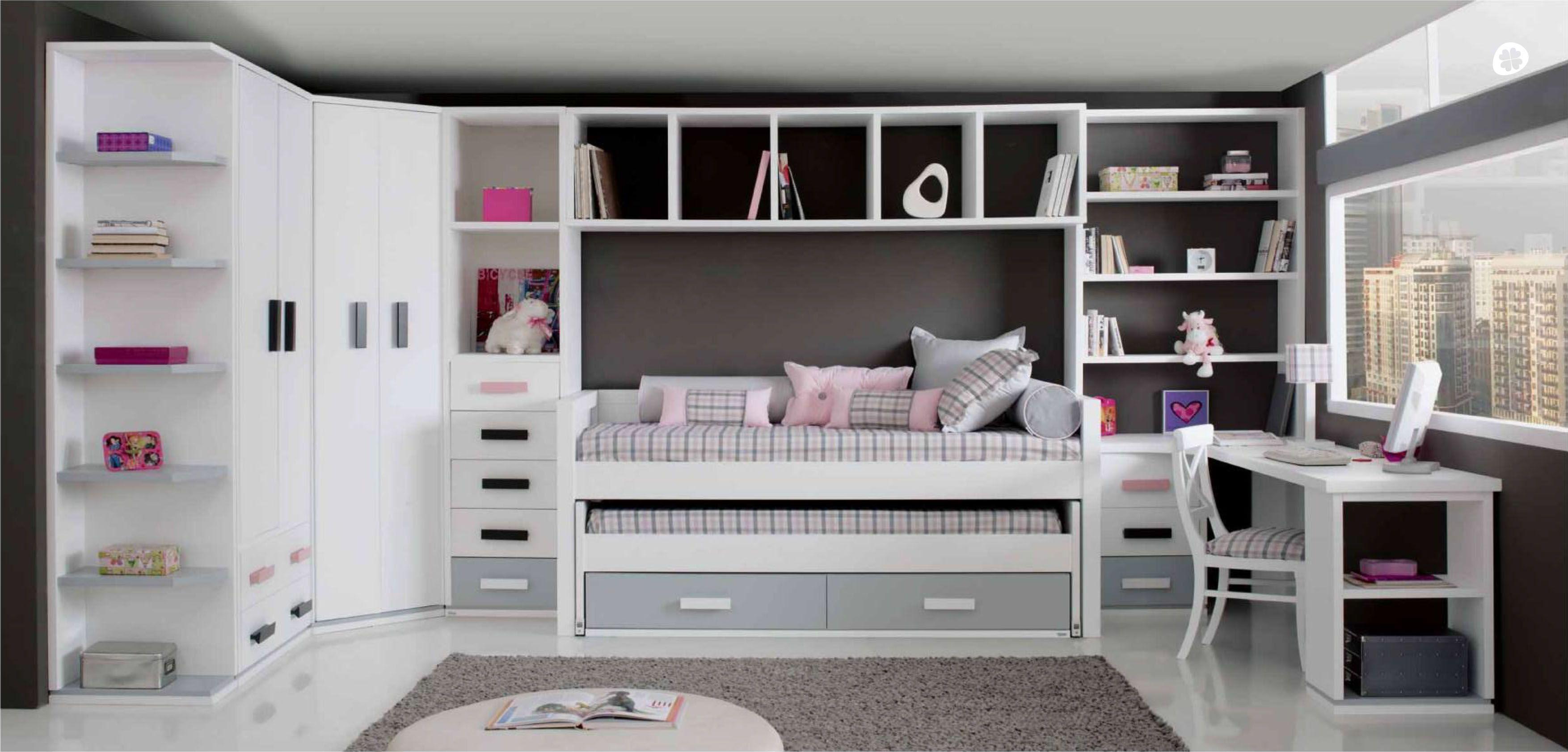 Dormitorio completo para ni os de tr bol escritorio y - Dormitorios para ninos ...