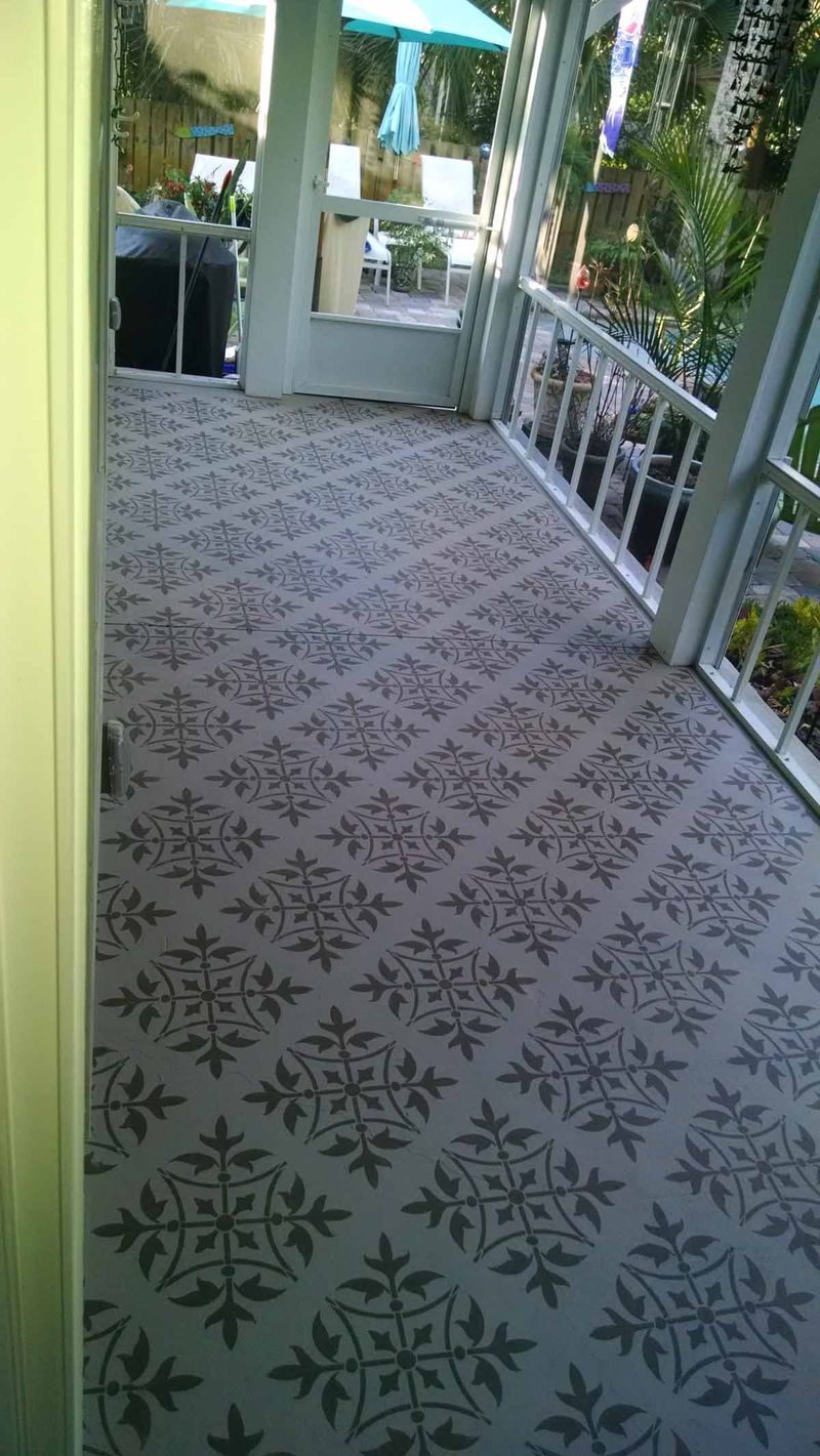 A porch in Florida stencilled with our T4-L Medieval Tile stencil ...