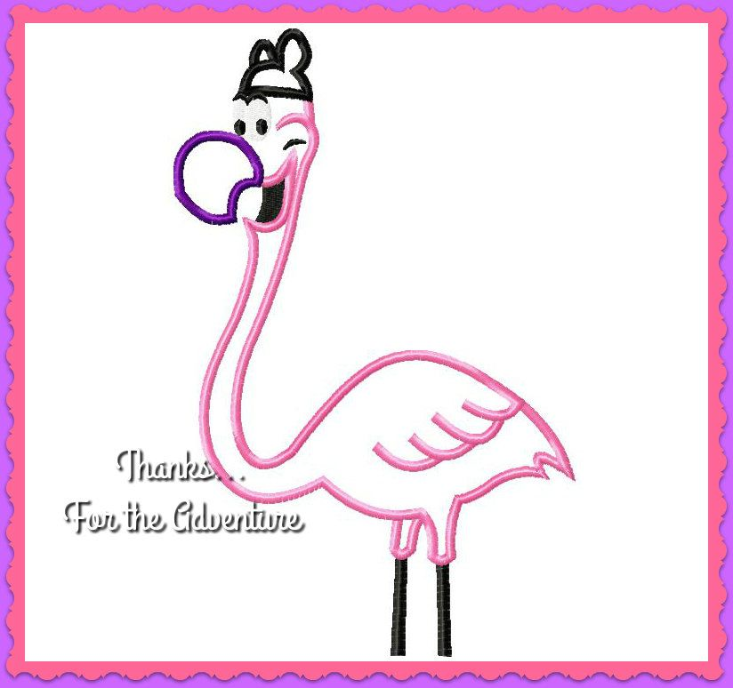 Alice in Wonderland and Fantasia 2000 Flamingo Wearing Mouse Ears  Digital Embroidery Machine Applique Design File 4x4 5x7 6x10 by Thanks4TheAdventure on Etsy