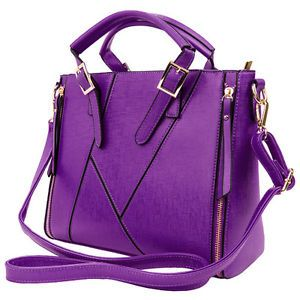 Purple-Faux-Leather-Womens-Satchel-Handbag-Cross-body-Shoulder-Bag-Tote-Purse