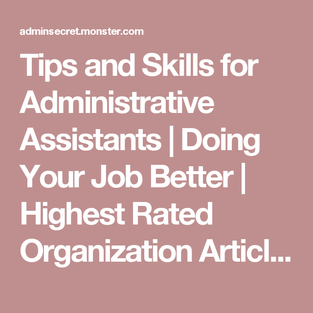 Tips And Skills For Administrative Assistants  Doing Your Job