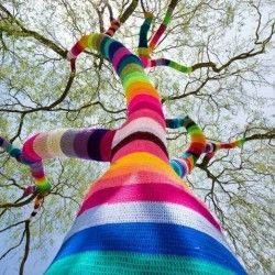 Yarn bombing. L'attaque du crochet. #arbre #couleur #tricot