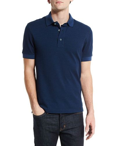 423ab57cb9f97 TOM FORD Short-Sleeve Pique Oxford Polo Shirt, Blue. #tomford #cloth ...
