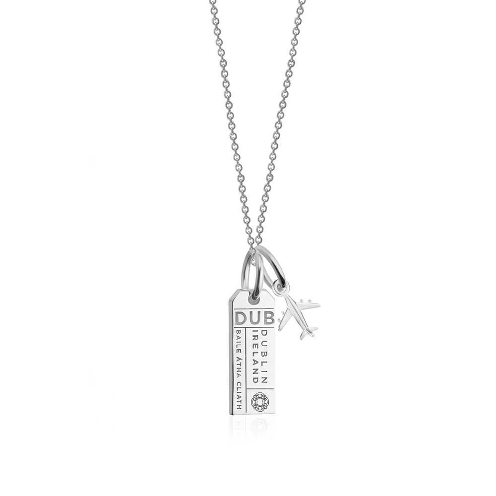 This 925 solid sterling mini Dublin luggage tag charm necklace features the Dublin Airport IATA code, DUB. Choose from either the 14-16