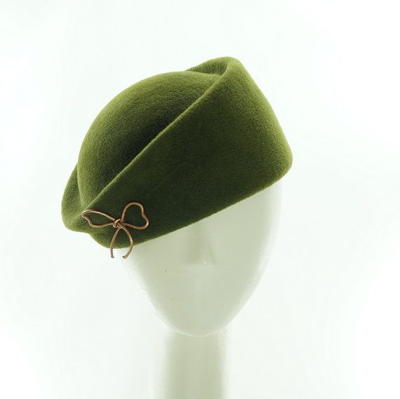 Olive Green Beret Hat For Women Vintage Style Pillbox Hat Handmade By Marcia Lacher Hats Hats For Women Vintage Style Hat Hats Vintage