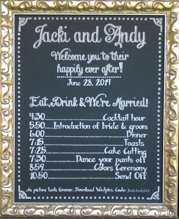 Wedding Chalk Board Schedule Of Events Board Wedding Reception Timeline Wedding Reception Schedule Reception Timeline