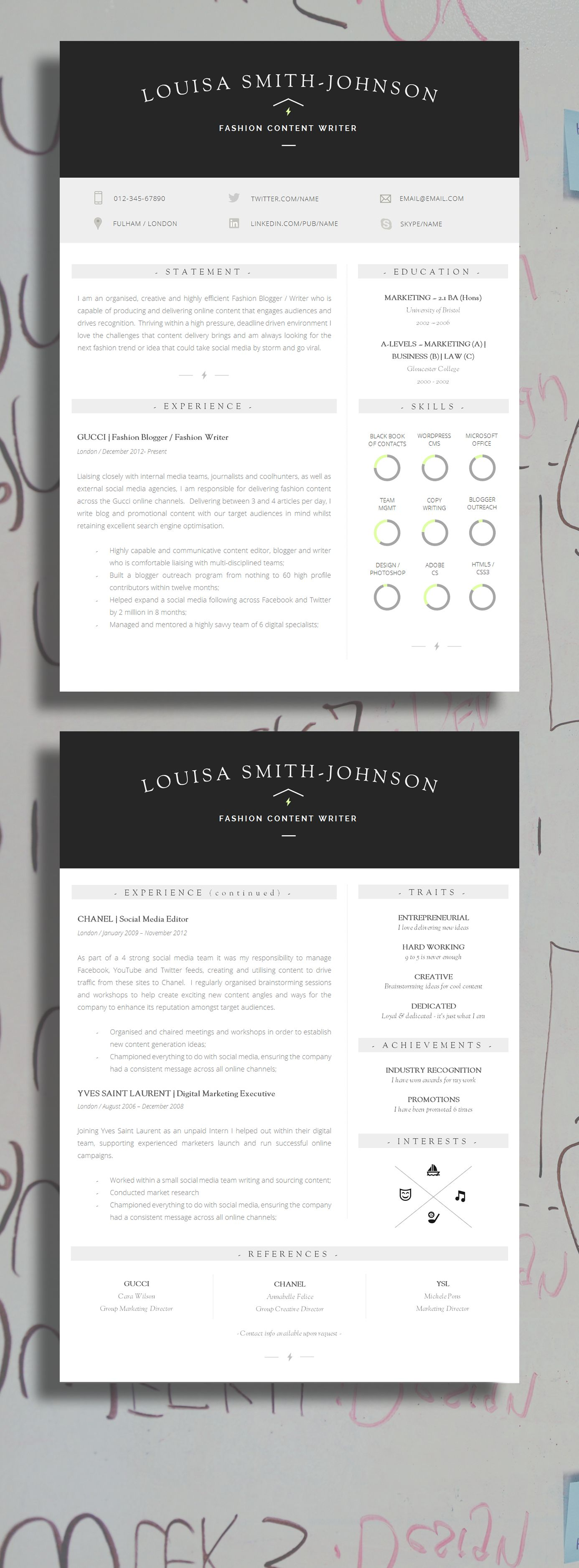 Resume Design | Resume Template + Cover Letter + Resume Guide + ...