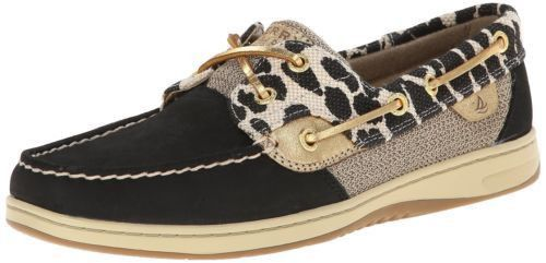 Womens Bluefish Shimmer Casual Boat Shoes Black/Lepoard Sz 5 M