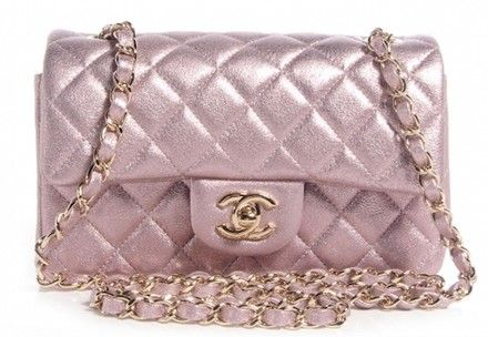 1d0000d11eec Classic Mini Flap Quilted Cc Logo Metallic Pink Champagne Rose Gold ...