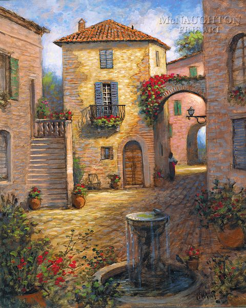 Italian Canvas Tent Veranda Decorated In Different Styles: McNaughton Fine Art