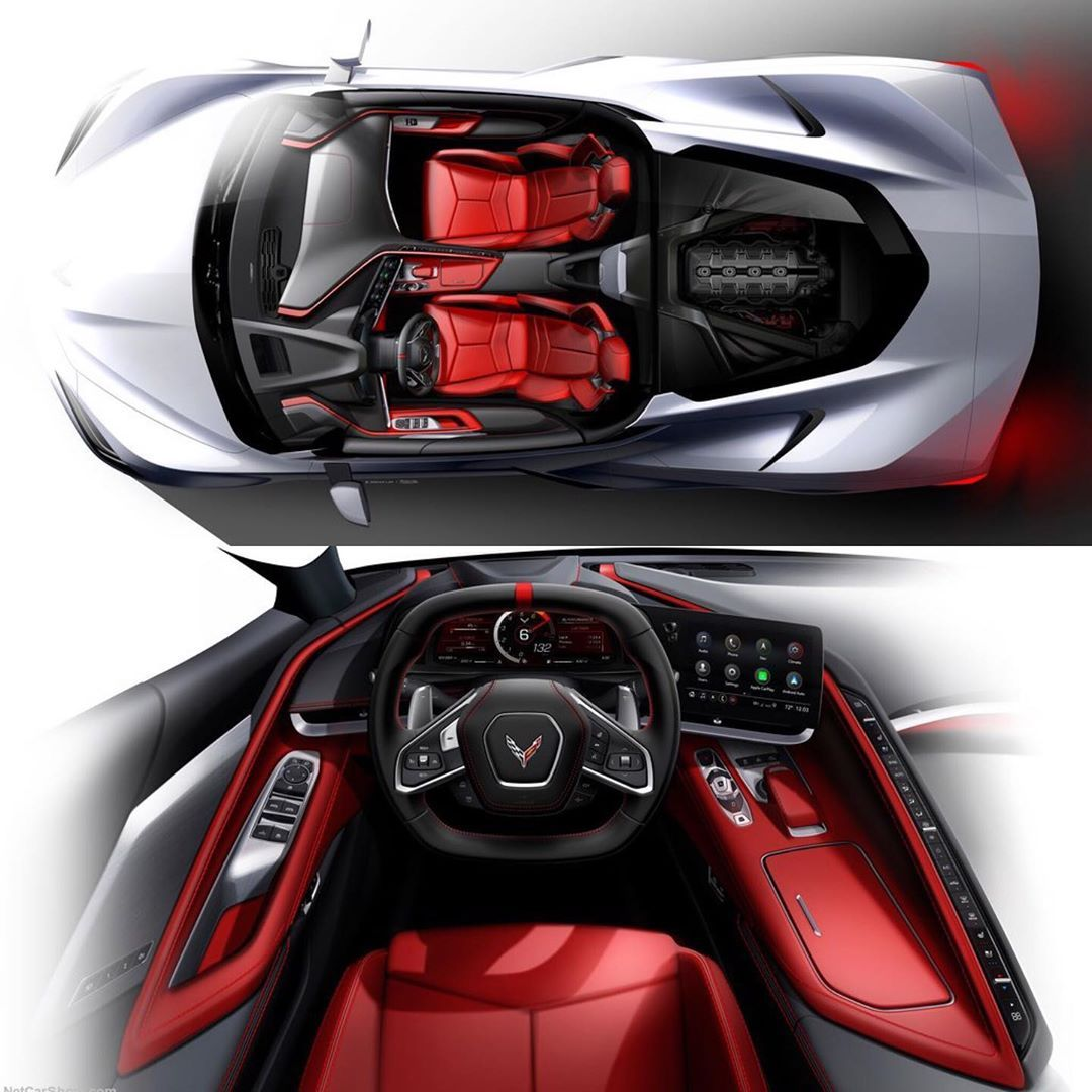 Car Design Sketch On Instagram 2020 Chevrolet Corvette C8 Stingray Official Sketches Chevrolet Corvette Corvette Chevrolet