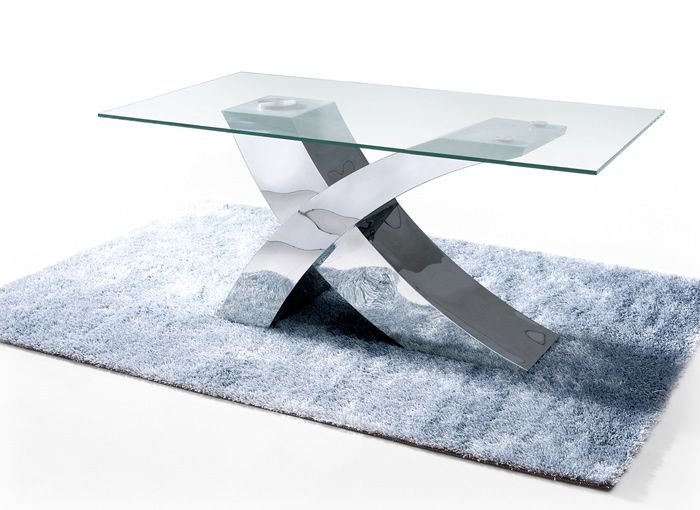 Geo Glass Dining Table With Stainless Steel Base