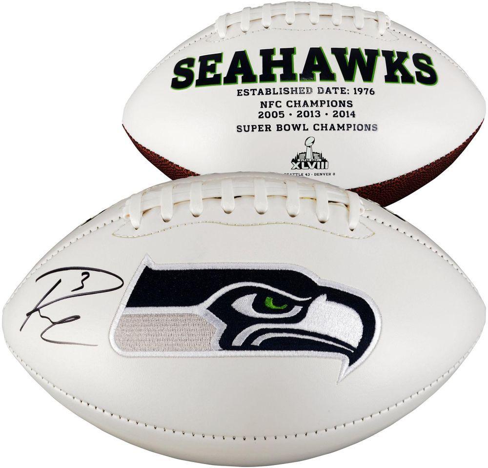 Russell Wilson Seahawks Signed White Panel Football Fanatics Football Football
