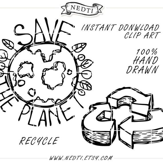 35 Hand Drawn Clipart Elements Lineart Png Recycle Reduce Reuse