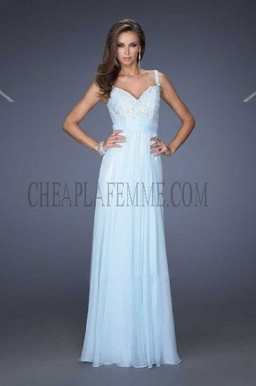Jeweled Lace Long Powder Blue Prom Dresses By La Femme 19882 for ...