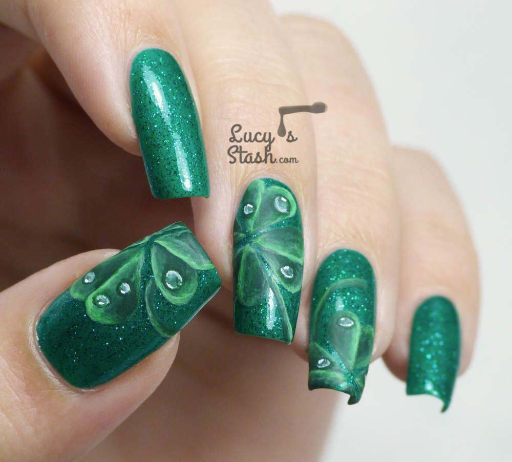 Nail Art Ideas shamrock nail art tutorial : Four-Leaf Clover Nail Art for St. Patrick's Day (Lucy's Stash ...