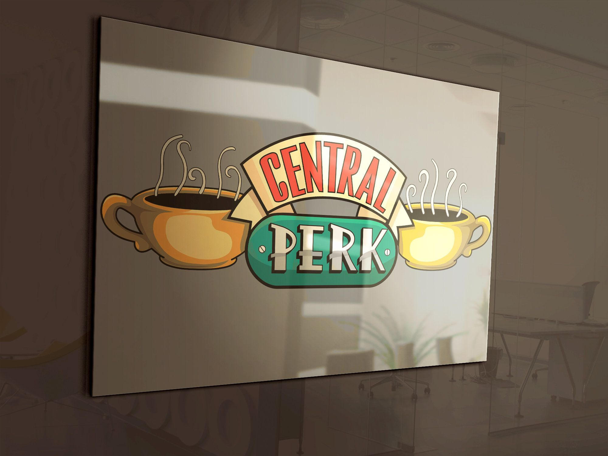 Logo Central Perk Friends vectorial a color y escala de