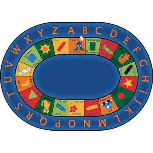 Bilingual Circletime Carpet 6 9 X 9 5 Oval Carpets For Kids