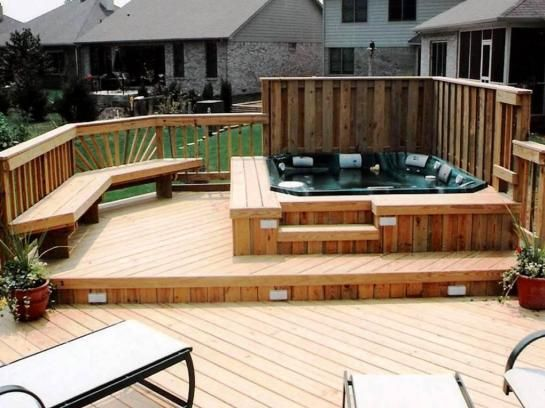 Cool Hot Tub Deck Picture And Modern Outdoor Bench Design Idea Plus  Terracotta Flower Pots