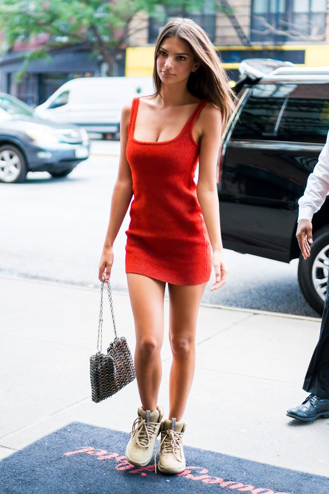 778395551a6 Emily Ratajkowski is seen wearing a red dress returning to her hotel in New  York City