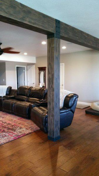 Rustic Vintage Wood Beam Lally Column Basement Pole Cover Ideas