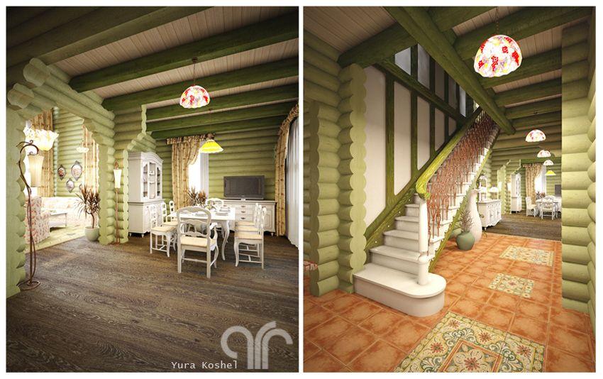 Дизайн в деревянном доме в стиле прованс