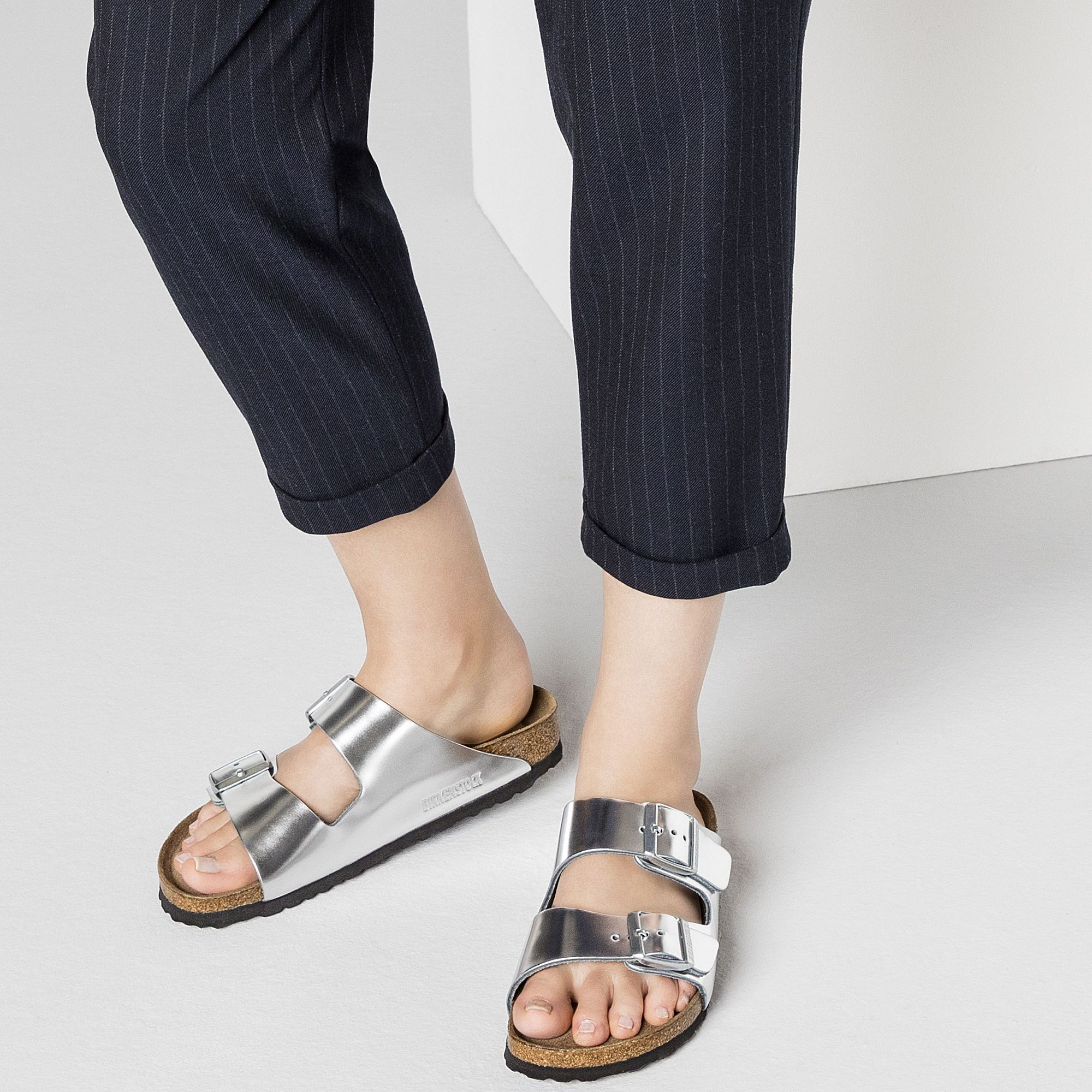 Arizona Soft Footbed Metallic Silver Leather