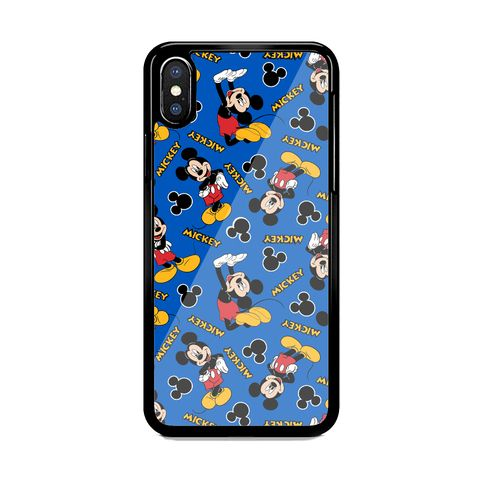 Disney-Mickey-Blue-Pattern Print On Hard Cover Phone Case For iPhone and Samsung