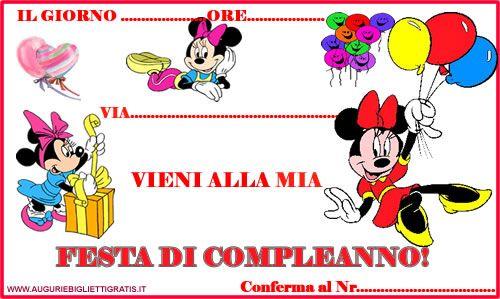 Inviti Di Compleanno Con Minnie Biglietti Pinterest Party