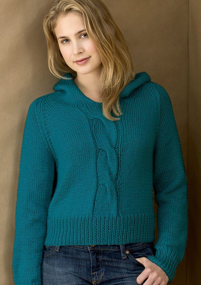 Free Knitting Pattern Cabled Hoodie - Ann E. Smith\'s hooded long ...