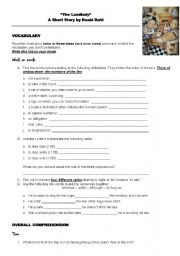 English worksheet: Reading - THE LANDLADY by Roald Dahl with