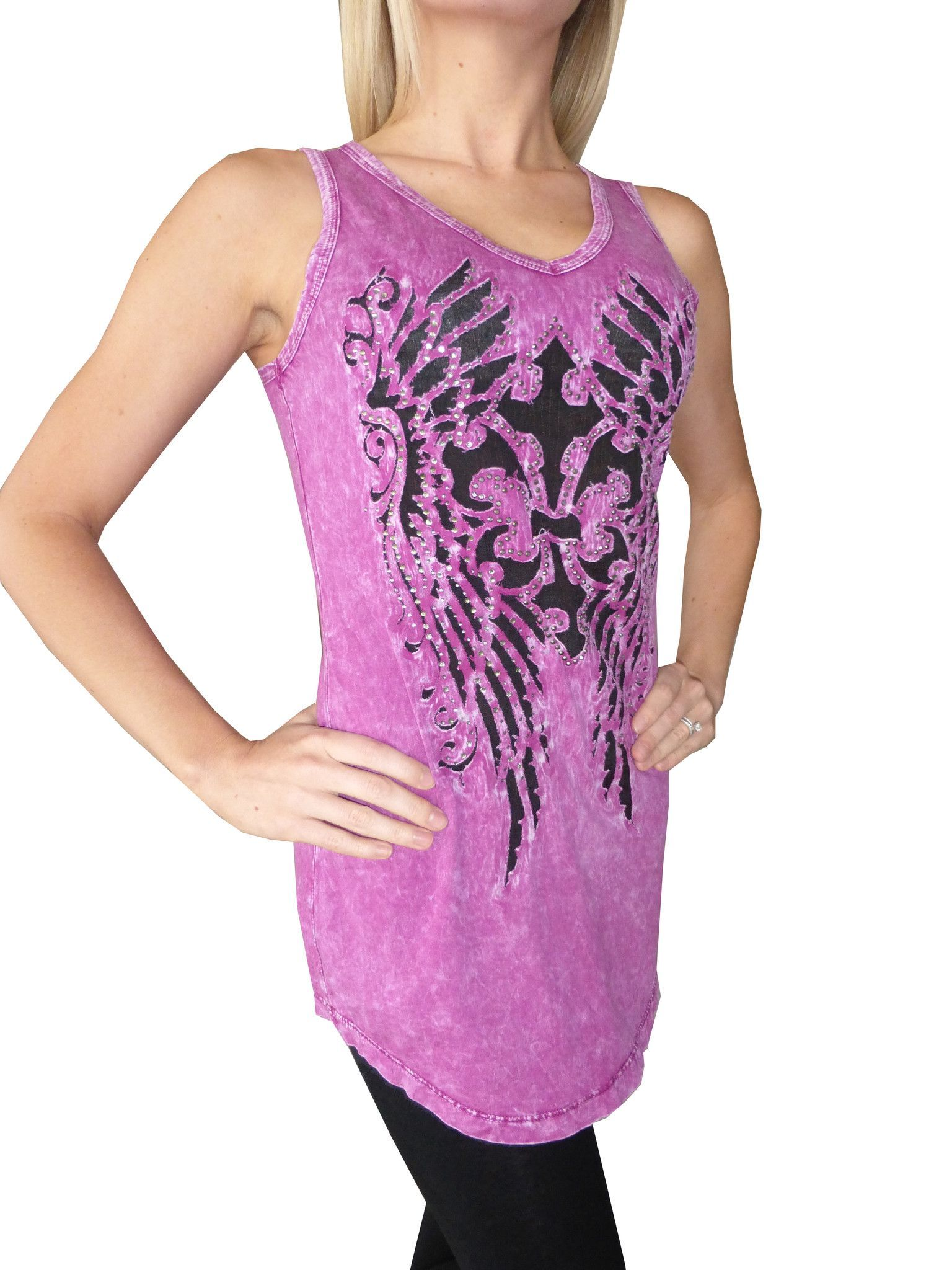 Lets Get Rocked Raspberry Tank - Vneck Long Tank Top with Wing Cross Cutout & Crystal Design