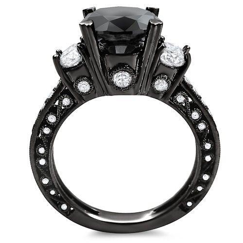 4.15ct Black 3 Stone Round Diamond Engagement Ring Bridal Set 18k Black Gold / Front Jewelers