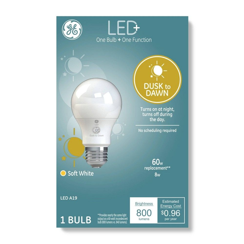 General Electric A19 Dusk To Dawn Led Light Bulb Clear In 2020 Led Light Bulb Bulb Dusk To Dawn
