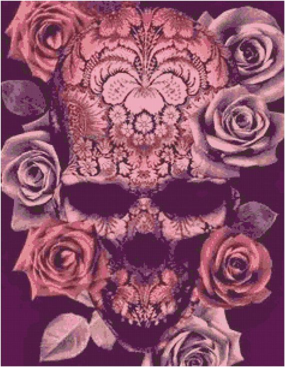 Pink Sugar Skull Cross Stitch Printable Needlework Pattern - DIY Crossstitch Chart, Relaxing Hobby, Instant Download PDF Design