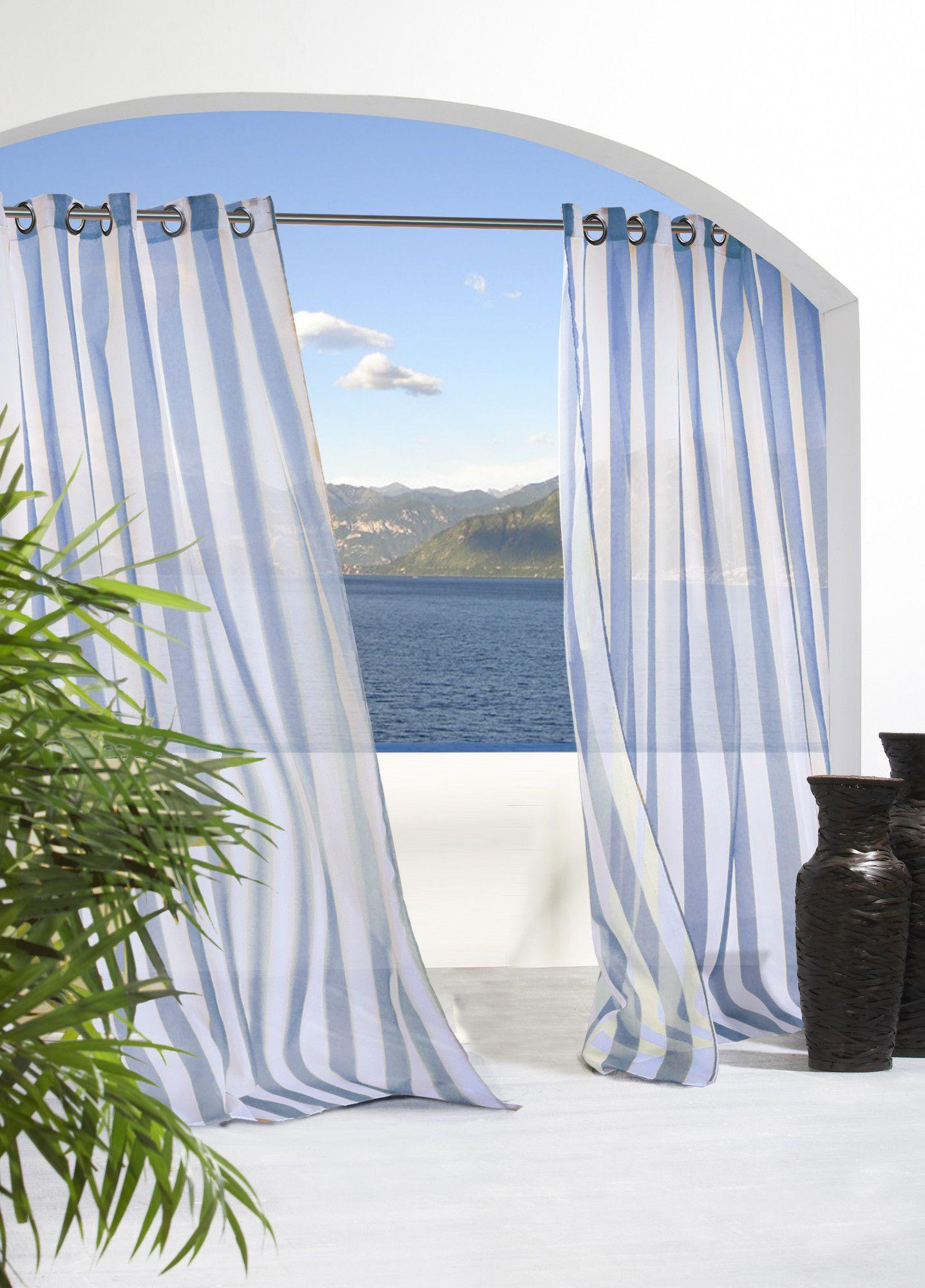 Attirant Lea Stripe Grommet Top Indoor/Outdoor Single Curtain Panel