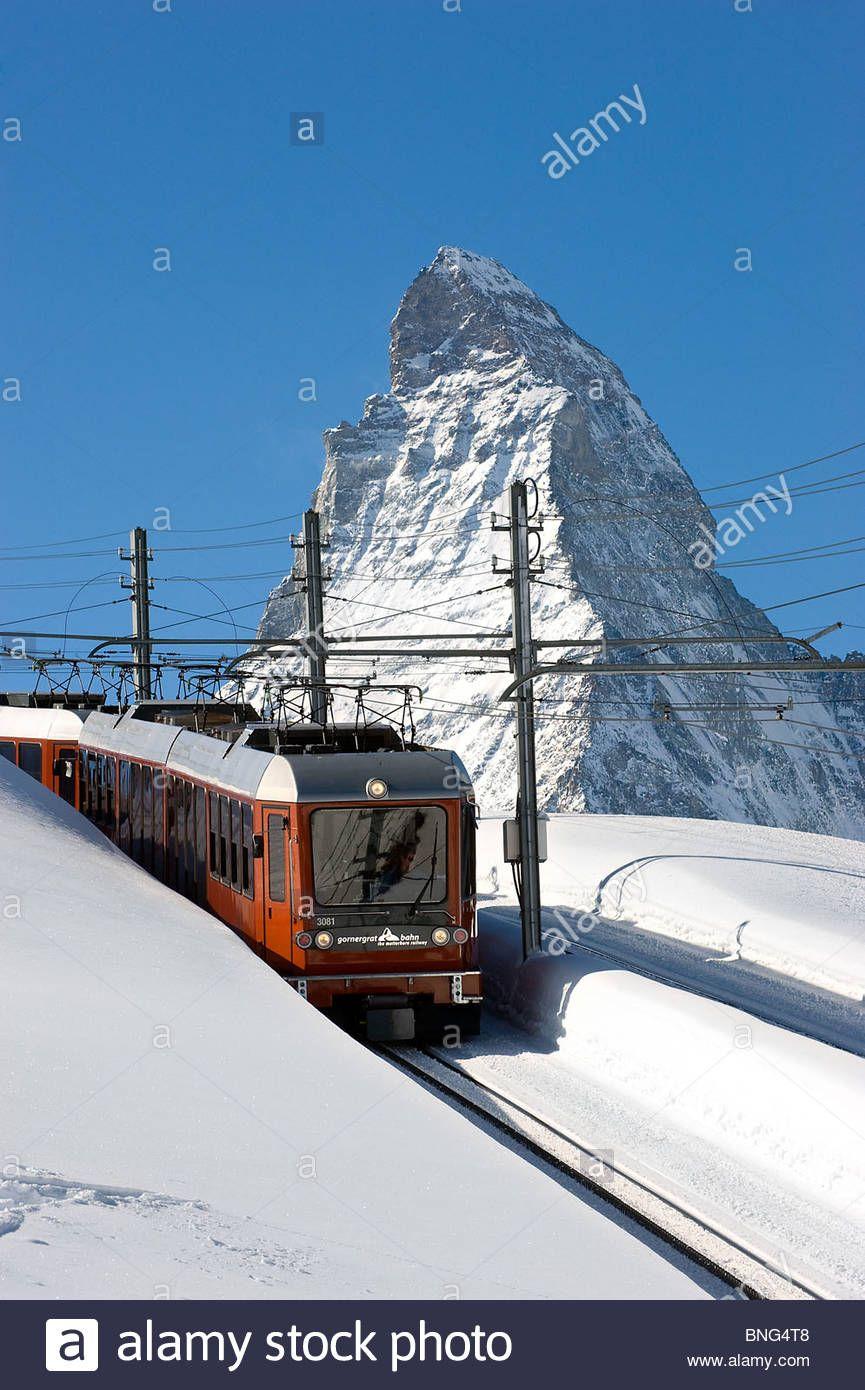 Download This Stock Image The Gornergrat Bahn Train And The Matterhorn Zermatt Valais Canton Switzerland Bng4t8 From Alamy S Libr Matterhorn Zermatt Valais