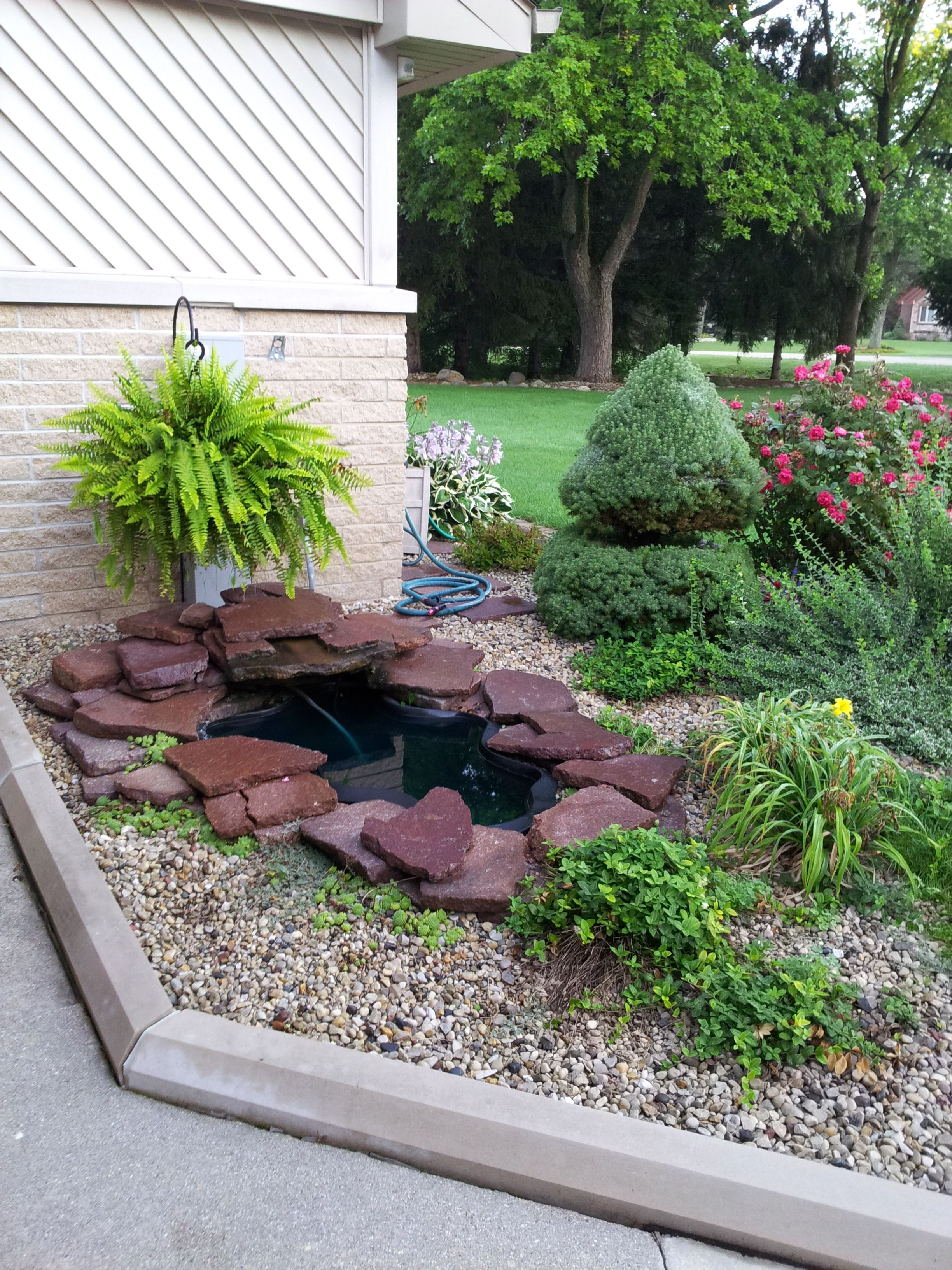 Waterfall in front yard...simple and soothing....work your ... on Front Yard Waterfall Ideas id=67216