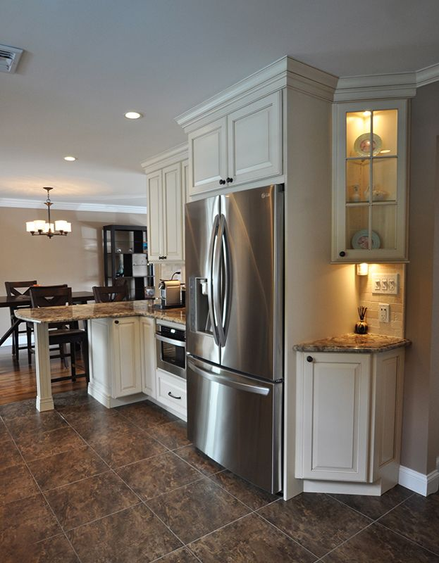 Angled Corner Cabinets With Lighting Draw Microwave Utility Wall With Peninsula And Seating Kitchen Construction Kitchen Cabinet Design Kitchen Remodel
