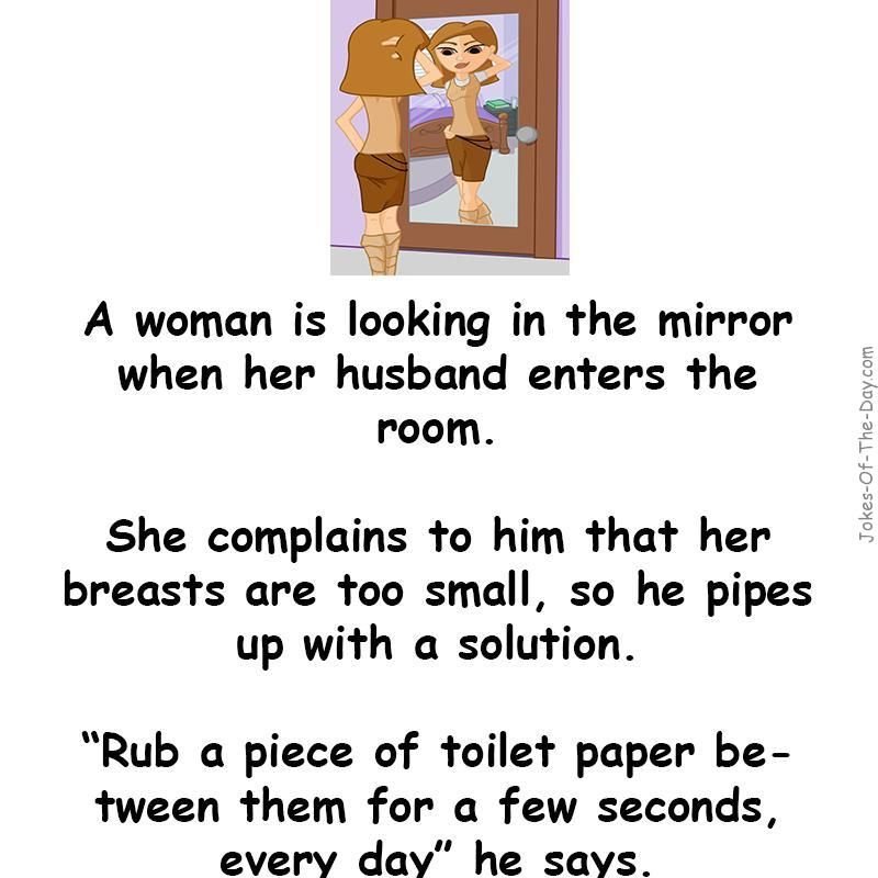 A Woman Is Looking In The Mirror And Thinking Her Breasts Are Too