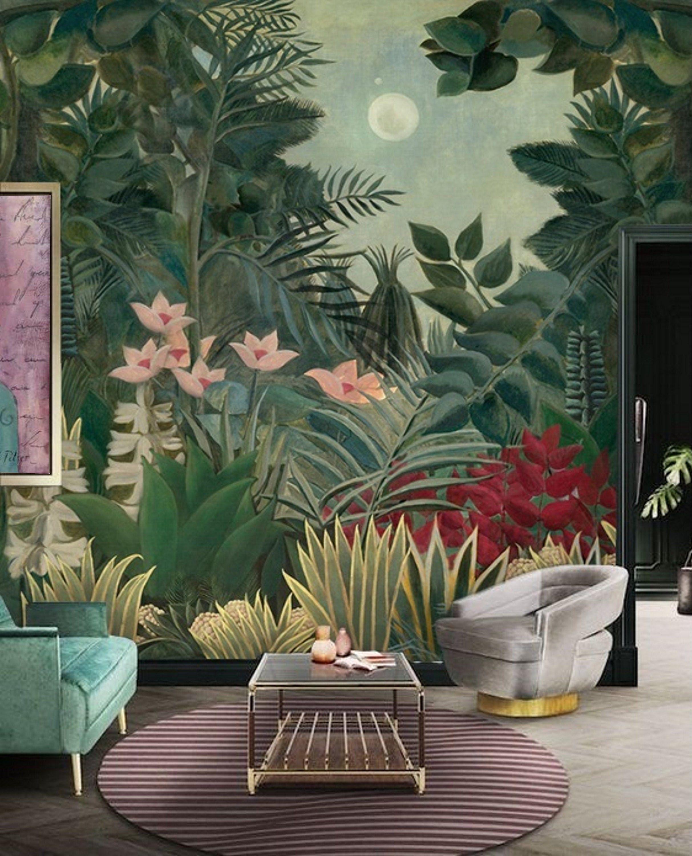 Tropical Jungle Garden Inspired By Rousseau Wallpaper Peel And Etsy Jungle Wall Mural Jungle Wallpaper Mural Wallpaper