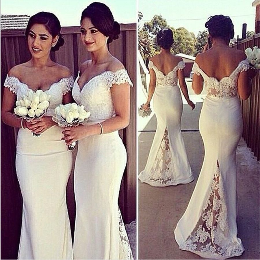 Lace prom dresslong bridesmaid dresseslace stitching trailing