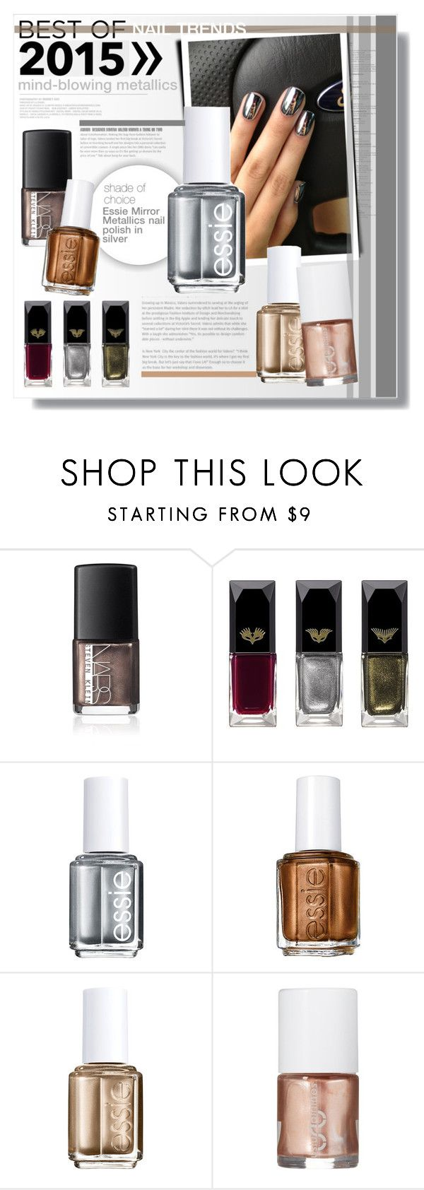 """""""2015 nail trends: chrome domination."""" by sinesnsingularities ❤ liked on Polyvore featuring beauty, NARS Cosmetics, Clé de Peau Beauté, Essie, Uslu Airlines, BeautyTrend, polyvorecommunity, metallicnails and bestof2015"""