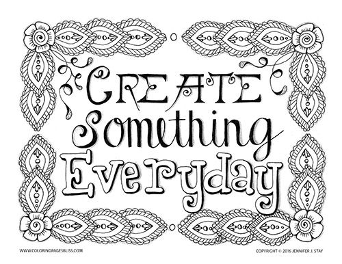 Create Something Everyday Coloring Page For Adults This