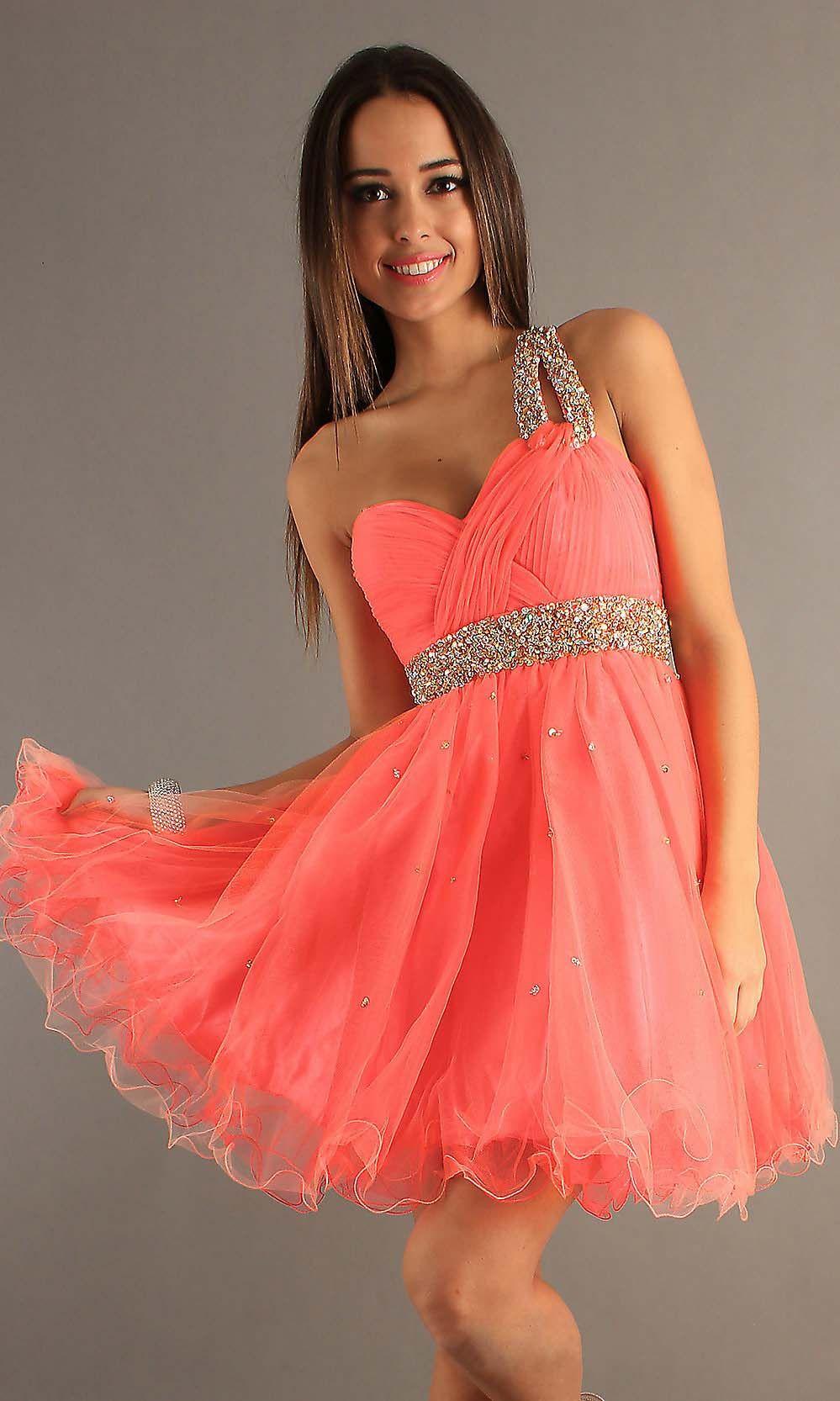 Cheap cute short one shoulder aline prom dress cheap prom dresses