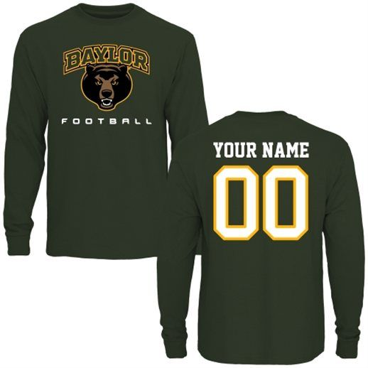the best attitude 85115 68be5 Baylor Bears Personalized Football Long Sleeve T-Shirt ...