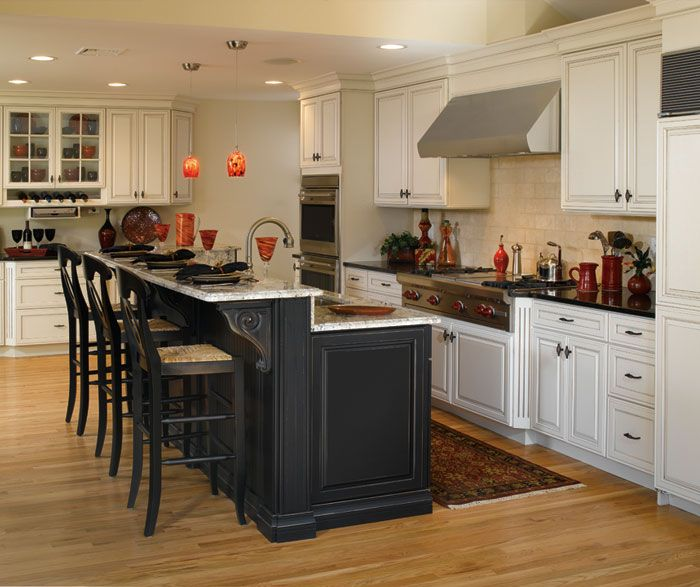 Black Kitchen Island With White Cabinets: Cabinet Design Photos